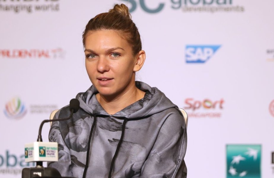 SINGAPORE - OCTOBER 21:  Simona Halep of Romania attends All Access Hour prior to the BNP Paribas WTA Finals Singapore presented by SC Global at Marina Bay Sands Hotel on October 21, 2017 in Singapore.  (Photo by Matthew Stockman/Getty Images)